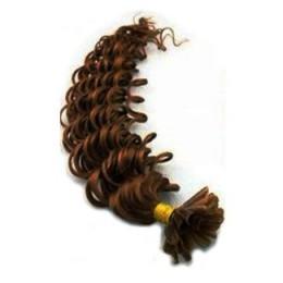 Lockiges 60 cm Haar europäischen Typs für die Keratinmethode - mittelbraun