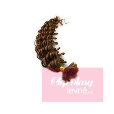 Lockiges 60 cm Haar europäischen Typs für die Keratinmethode - helleres braun