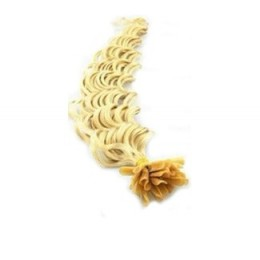 Lockiges 60 cm Haar europäischen Typs für die Keratinmethode - weißblond