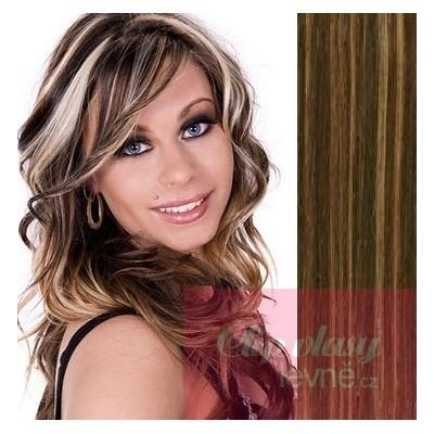 53cm Clip In Haar 100% Menschenhaar europäischen Typs - dunkle Strähnchen