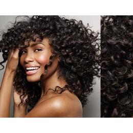 Clip in kudrnaté vlasy 100% lidské REMY 53cm - platina/světle hnědá