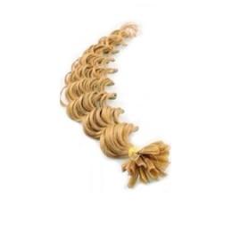 Lockiges 50 cm Haar europäischen Typs für die Keratinmethode - naturblond