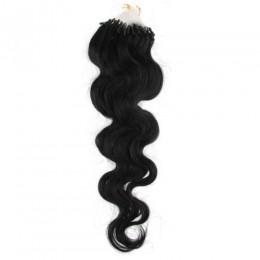 Wellige Haar für die Methoden Micro Ring / Easy Loop 50 cm – schwarz